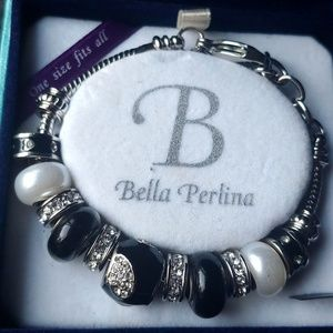 Bella Perlina Silver Charm Bead Bracelet NIB